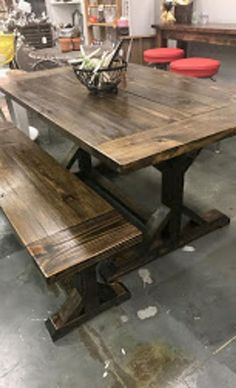 Farmhouse Tables - Into The Woods - Custom Farmhouse Tables | Into The Woods - Custom Farmhouse Tables Farmhouse Table For Sale, Farmhouse Style Table, Farmhouse Furniture, Farmhouse Bench, Yard Furniture, French Farmhouse, Farmhouse Decor, Window Seat Kitchen, Dining Room Paint Colors