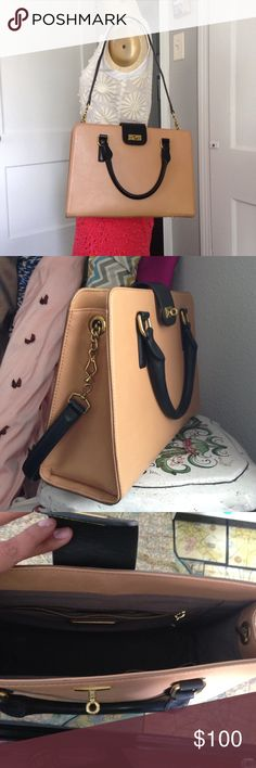 J.Crew Tan Tote Handbag 100% leather tan and black J.Crew attaché with shoulder strap J. Crew Bags Totes