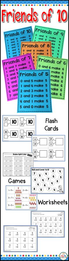 Friends of Ten math fact fluency for kindergarten and first grade. Help your students master fact fluency to ten with the Friends of 10 resource. This math resource includes math poster anchor charts, math games, number cards, math facts addition flash cards, making ten fact games, memory match game, 20 math worksheets. Students can master the number combinations and math facts 0-10 needed to be successful before moving on to first grade. Great for small group, RTI and special Education.