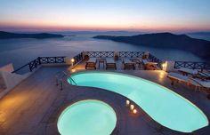Hotel In Santorini, Greece By Ilioperato Amazing Swimming Pools, Cool Pools, Beautiful Pools, Beautiful Places, Beautiful Scenery, Jacuzzi, Hotels In Santorini Greece, Santorini Grecia, Santorini Sunset