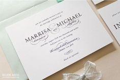 Classic Black and White Wedding Invitations --  Beaitufil Script -- Black Tie -- Wedding Invitation Sample Set on Etsy, $7.00