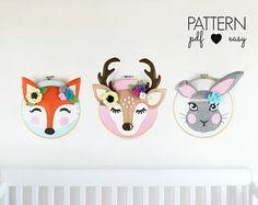 Woodland Nursery Decor Art Patterns, Faux Taxidermy , Deer Sewing Pattern, Boho Nursery, Fox Pattern, Felt Pattern, Woodland Hoop Art