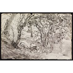 Drawing - Rimmer's Pond, Ridley 1940 Thomas Hennell