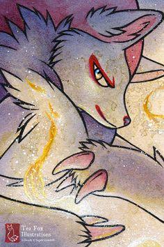 Items similar to Zoroark Pokemon / Kitsune Fox Anime Game Geekery / Japanese Asian Style / Fine Art Print on Etsy All Pokemon, Pokemon Fan Art, Zoroark Pokemon, Otaku, Fox Illustration, Illustrations, Fox Spirit, Beautiful Dark Art, Original Pokemon