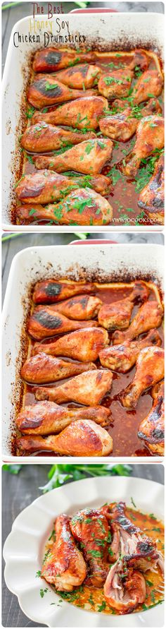 Honey Soy Chicken Drumsticks - oven baked chicken in an amazing honey, soy and garlic sauce. Tender, meat falls off the bone, delicious chicken! (Bone In Chicken Meals) Meat Recipes, Chicken Recipes, Dinner Recipes, Cooking Recipes, Recipies, I Love Food, Good Food, Yummy Food, Tasty