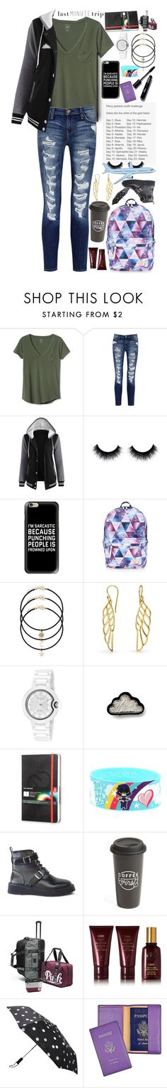 """""""Taking a Last Minute(and totally unnecessary) Trip//Day 1// Daughter of Zeus"""" by artemishunters ❤ liked on Polyvore featuring Gap, Current/Elliott, Casetify, Accessorize, Bling Jewelry, Cloud, Moleskine, The Created Co., Oribe and Kate Spade"""