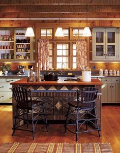 Rustic kitchen...love the painted cabinets with stained wood paneling and wood floors mix