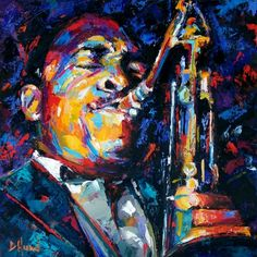 John Coltrane Jazz saxophone art painting music, painting by artist Debra Hurd