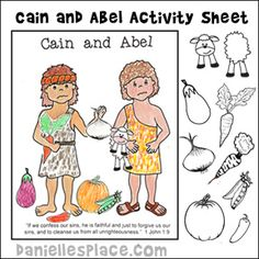 Cain and Abel Activity and Coloring Sheet for Children's Ministry and Sunday School. Children glue picture to the sheet. www.daniellesplace.com
