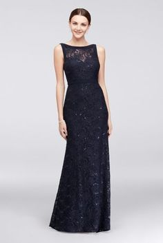 High-Neck Lace Mermaid Dress with Tonal Seaming 21442
