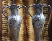 Pair of Art Nouveau Pewter Vases WMF Metalware from the 1900s #EasyNip