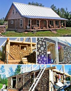 """Cordwood Building"" While the mortar typically used for cordwood construction is made from Portland cement, lime and water, some people are beginning to combine cordwood building with cob in place of mortar, as in the owner-built cordwood home pictured."