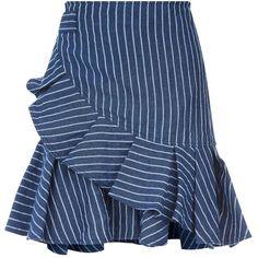 Alexis Anvivi Denim Mini Skirt (660 CAD) ❤ liked on Polyvore featuring skirts, mini skirts, striped mini skirt, denim mini skirts, short skirts, denim miniskirt and stripe skirts