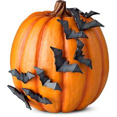Improvements Halloween Pumpkin with Flying Bats ($13) ❤ liked on Polyvore featuring home, home decor, holiday decorations, halloween, fillers, decor, autumn, halloween decor, artificial pumpkins and faux pumpkins