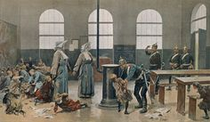 llustration of Prussian soldiers /cavalry making their rather intimidating presence felt, in a French orphanage administered by Carmelite nuns-Franco-Prussian war 1870/71