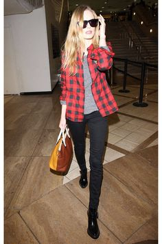 Kate Bosworth's plaid shirt and black skinnies