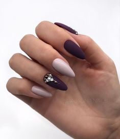 63cea0c0e96 Matte Dark Wine Manicure With Glossy Nude Accent Fall nail colors are  different from the ones used during all the summer season.