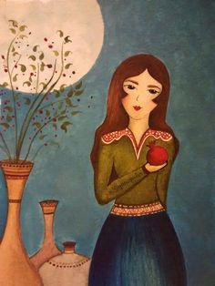 Persian Pomegranate Painting - Shabe Yalda - Yalda Night Painting