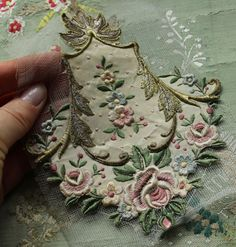 Antique gorgeous French silk metal applique floral piece trim roses curving pastel thread