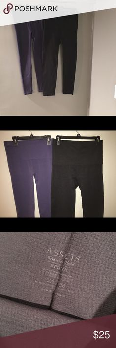 Spanx Leggings - XL Spanx Leggings Navy Pair - Worn Once Black Pair - Brand New Size XL Thick Waistband and Thick Fabric  Price is for BOTH pair, not per item! Assets By Spanx Pants Leggings