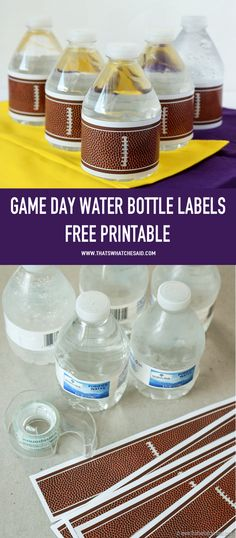 Grab your Free Football Water Bottle Labels! Perfect for game day, parties, Superbowl, pee-wee games and can be used for more than water bottles! Cubs Baseball, Baseball Gear, Football Banquet, Football Themes, Football Parties, Football Humor, Football Spirit, Football Crafts, Football Team Treats