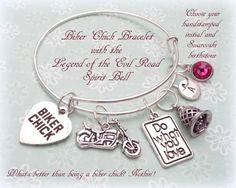 Biker Chick Gift Motorcycle Charm Bracelet by HopeisHipJewelry