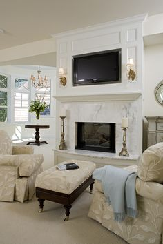 Amazing fireplace in the master bedroom with gorgeous white marble. Plan 013S-0014   houseplansandmore.com