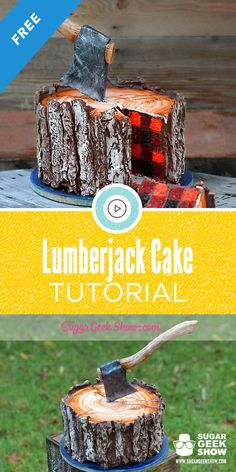 This Lumberjack Cake may be my favorite cake of all time! The plaid cake pattern, the realistic wood texture, the gravity defying axe, what's not to love? Get the full step-by-step tutorial with all my secret tips and tricks for free! Lumberjack Cake, Lumberjack Birthday Party, Cake Cookies, Cupcake Cakes, Red Cake, Modeling Chocolate, First Birthday Cakes, Birthday Ideas, Fondant Tutorial