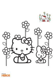 Coloriez hellokitty le chaton trop chou coloriage sur coloriages - Coloriage hello kitty fleurs ...