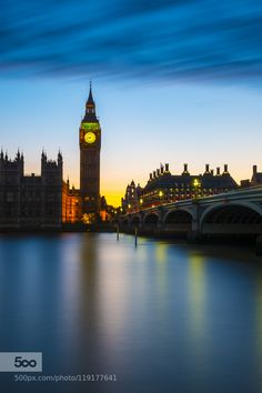 Big Ben after sunset at Westminster in London by TwilightView