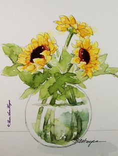 Watercolor Paintings by RoseAnn Hayes: Sunflowers Original Watercolor Painting