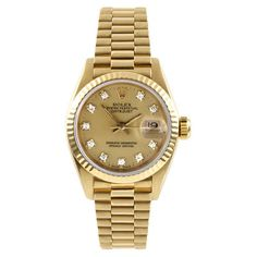 Refurbished Pre-owned Rolex Women's Yellow Gold Presidential Diamond... ($8,465) ❤ liked on Polyvore featuring jewelry, watches, gold, automatic movement watches, diamond bezel watches, rolex wrist watch, bezel watches and wide leather band watches