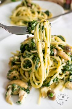 """Creamy Spinach and Mushrooms Pasta: """"Combined with some cream and ..."""