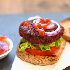 beetroot, chickpea and bean burger. Not only very tasty and full of protein and all the goodness of beetroot these burgers are all the better for being #vegan