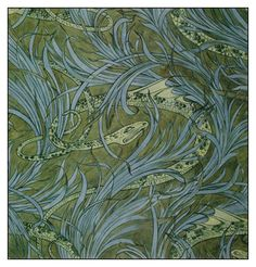 'Water Serpent' wallpaper design by C F A Voysey, produced in 1896.