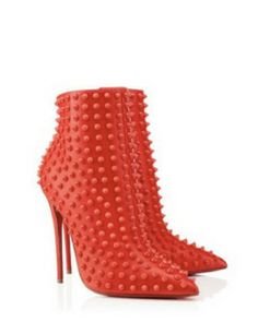 CHRISTIAN LOUBOUTIN Snakilta Studded Leather Ankle Booties