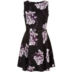 Dark Purple Floral Print Dress (470 MXN) ❤ liked on Polyvore featuring dresses, botanical dress, floral day dress, flower design dresses, flower pattern dress and floral printed dress