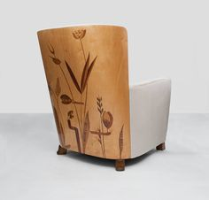 Important Pair of Swedish Art Deco Marquetry Lounge Chairs by Erik Chambert