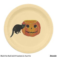 Black Cat And Jack O Lantern Paper Plate
