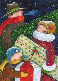 Busy time of year these Christmas holidays. Art by Susan Mitchell.