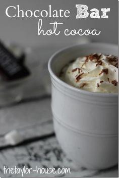 Chocolate Bar Hot Cocoa, Hot Chocolate Recipe, Hot Chocolate, Candy Bar Hot Cocoa