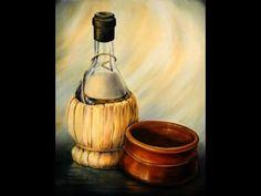 bodegon . ( manchas  traslucida en botellas ,  pintura en canastita . explicacion media