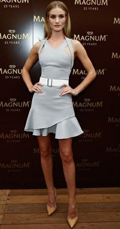 Rosie Huntington-Whiteley in Victoria Beckham at the 25th Anniversary Magnum Short Film Launch in Cannes