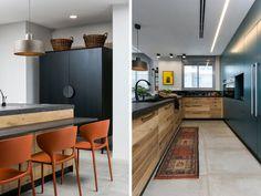 בני הזוג אוהבים לבשל ולארח. המטבח עוצב מחומרים טבעיים - עץ ומשטח אבן אפורה (צילום: שירן כרמל)