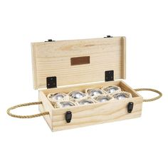 Jaques Alloy 8 Boule Bocce Ball Set with Wooden Box - Petanque - Bocce Ball at Hayneedle