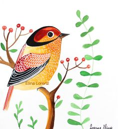 Bird Art/Berries/Plants/room decor/organic art/original art/home decor/colorful art/simple/modern art