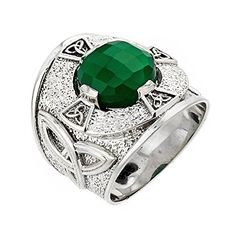 925 Sterling Silver Trinity Knot Band Mens Celtic Ring with Green Agate 15 ** Read more reviews of the product by visiting the link on the image.