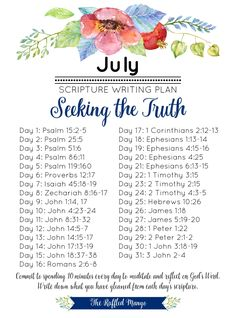 July Scripture Writing Plan: Seeking the Truth The Bible talks quite a bit about truth, so it must be pretty important. Our July scripture writing plan tackles how and why we need to find the real thing. Bible Study Plans, Bible Study Notebook, Bible Plan, Bible Study Journal, Bible Reading Plans, Scripture Journal, Scripture Reading, Daily Scripture, Scripture Study