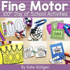 This 100th Day of School Fine Motor Activities pack includes 10 activities created to help prekindergarten and kindergarten students use their developing fine motor skills. The pack includes no prep printable activities that can be used in small groups, rotations, or centers. It also includes some low prep ideas that PreK and K students will love working on throughout the day. Try these out with your kinders to bring some giggles and fun to the exciting 100th day of school celebration.