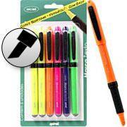 Pincel marca texto c/grip 6 canetas - 5 cores OvalBT 6 UN